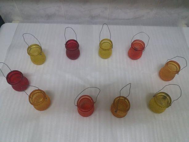 Porta velas de exterior coloridos para pendurar