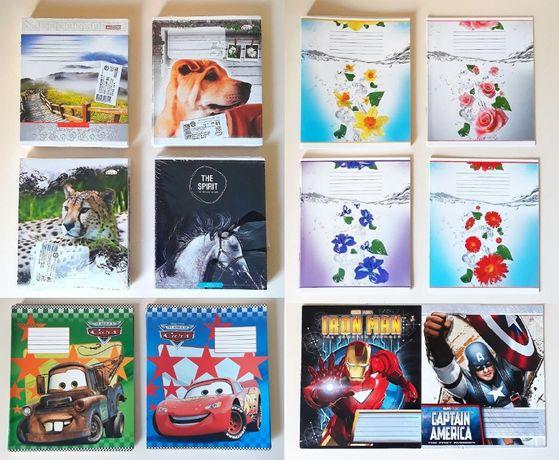 Комплект школьных тетрадей в клеточку и линейку с красивыми рисунками