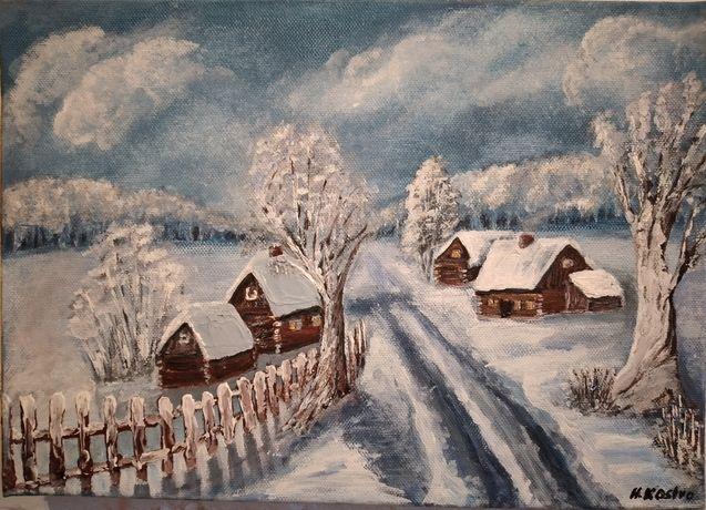 Obraz zima na wsi