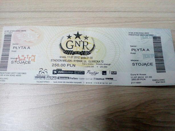 Guns n Roses - bilet z koncertu w 2012 roku w Rybniku