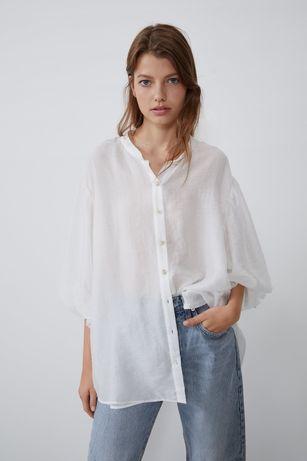 Zara biała bluzka koszula mgiełka S