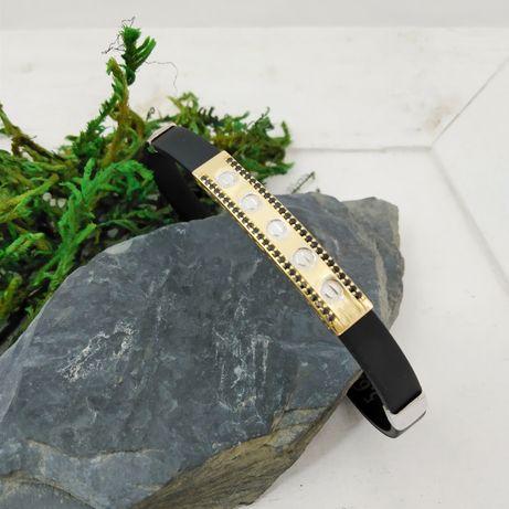 Męska złota bransoleta, złoto 585, kauczuk