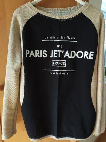 Bluza beżowo-czarna z nadrukiem, rozmiar S/M