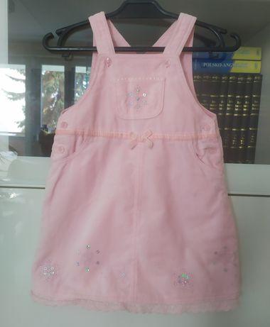 GEORGE 80 haftowana sukienka ogrodniczka aksamitna różowa świąteczna