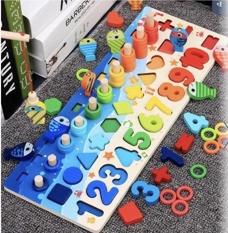 Детская деревяная развивающая игрушка геометрика