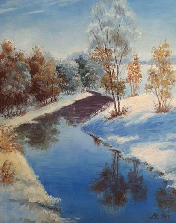 Зимний пейзаж 50х61 см, двп/масло 2011 г. Не оформлена.