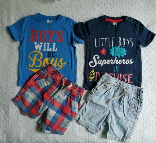 Next zestaw spodenki, szorty, koszulka, t-shirt r. 86, 12-18 m