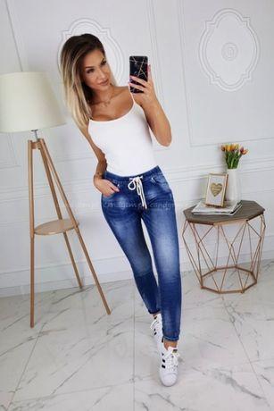 spodnie jeans andzela sznurek 34/36 wiązane rozciągliwe nowe