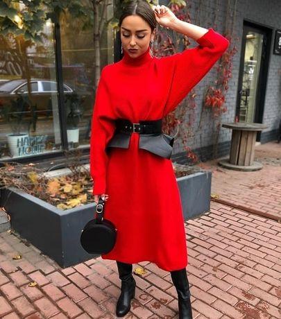 Вязаное теплое красное платье