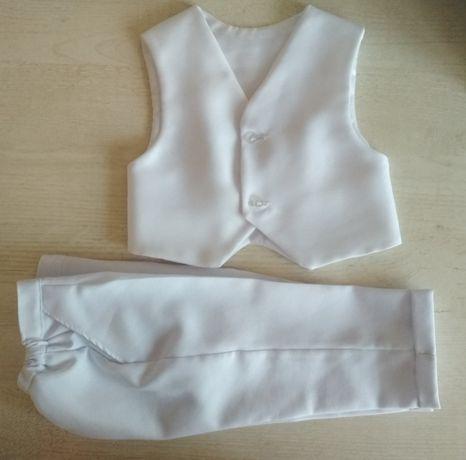 białe spodnie z kamizelką dla niemowląt - stretch 74 rozmiar