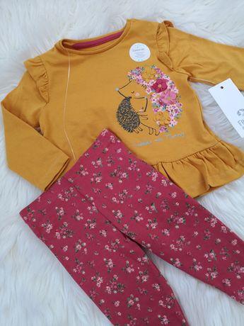 Śliczny komplet niemowlęcy bluzka z falbankami legginsy kwiatki