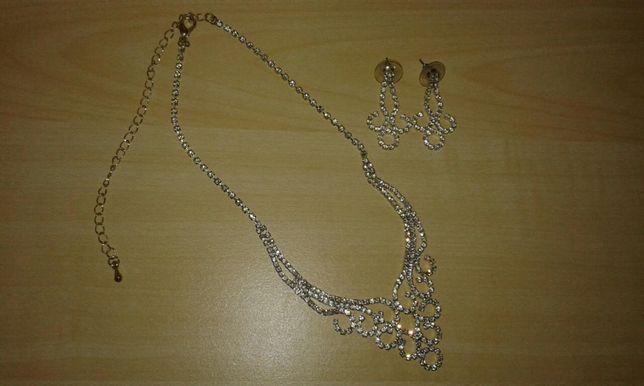 Piekny elegancki zestaw biżuterii kolczyki i naszyjnik