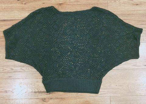 OKAZJA s czarny sweter nietoperz koronkowy