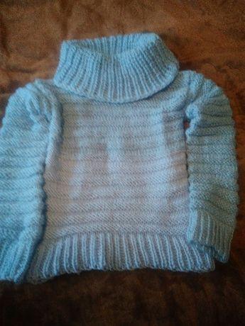 Sweter damski z golfem z wełny akrylowej