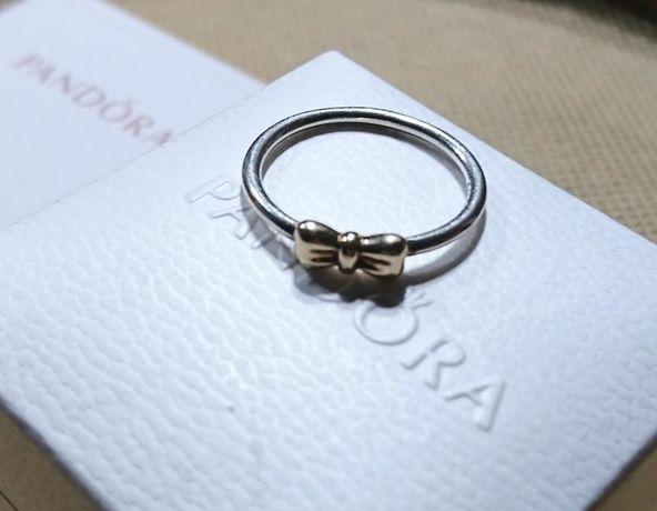 Оригинальное кольцо Pandora 2 металла (желтое золото, серебро), р. 56