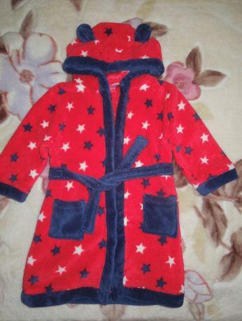 Халат детский Miniclub c капюшоном звезды.