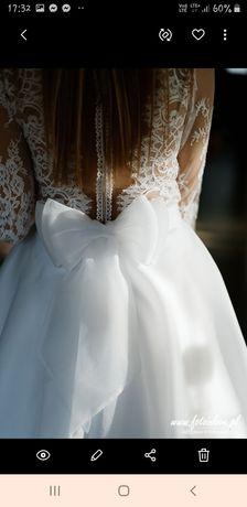 Suknia ślubna , body + spódnica ,dlugi rękaw