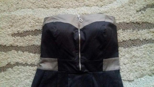 Brązowa sukienka bez ramiączek na WESELE rozmiar 38