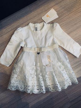 Пышное нарядное платье mayoral белое zara h&m