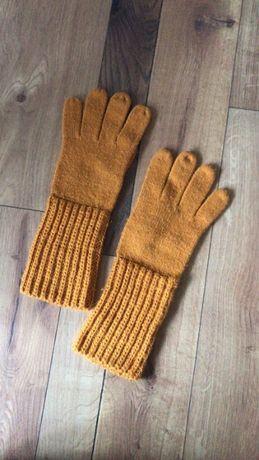 Musztardowe długie rękawiczki