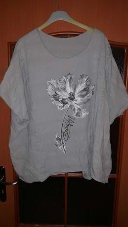Piękna bawełniano płócienna bluzka z kwiatem r.60 bdb
