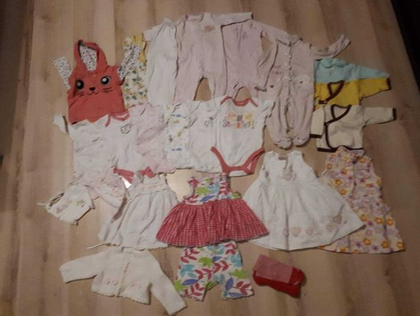 Zestaw ubranka dla dziewczynki duża paka , 0 - 3 miesięcy