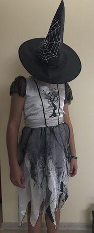Kostium karnawałowy wiedźma, czarownica, Czarodziejka 135 140 kapelusz