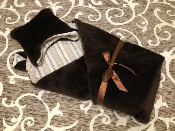 Теплый конверт одеяло плед на выписку «мишка» с ушками и шапочкой