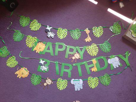 Гирлянда с днем рождения happy birthday сафари украшения растяжка