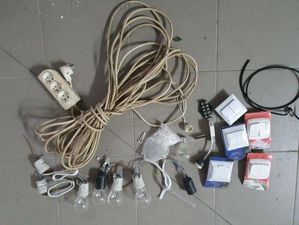 Zestaw elektryczny ja budowę, przedłużacz ok12m, żarówki, wyłączniki,