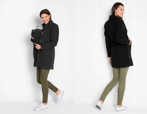 Modny czarny płaszcz ciążowy z wstawką dla dziecka 42