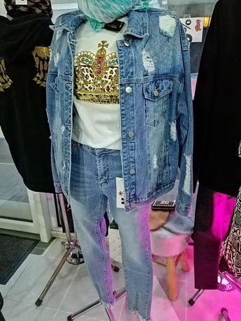Spodnie jeansowe M Sara katana jeansowa kurtka t-shirt korona cyrkonie