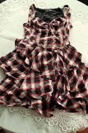 Sukienka krótka tunika gorset czerń biel czerwień 34 XS