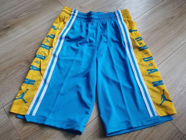 NOWE  niebiesko żółte Spodenki Jordan rozmiar S .