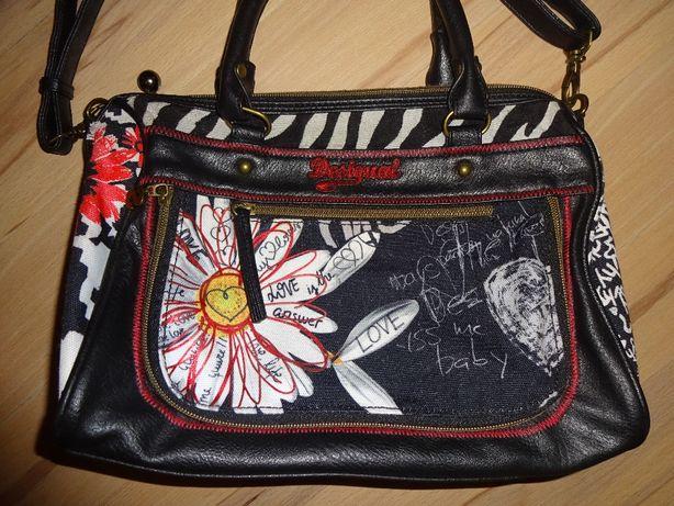 DESIGUAL oryginalna kolorowa torba torebka listonoszka z lusterkiem