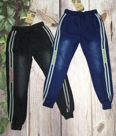 Утеплённые спортивные штаны, под джинсы, на меху р. 128-158