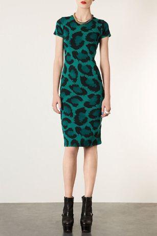 Платье зеленое с анималистичным принтом