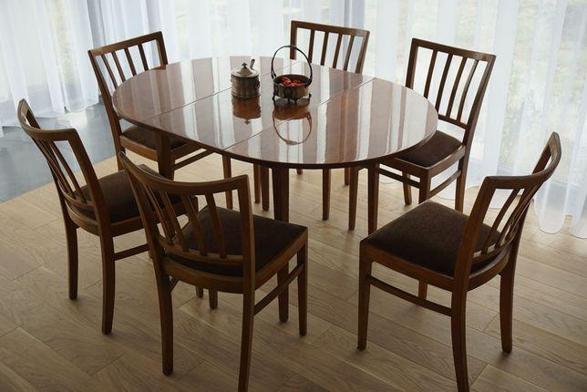 Klasyczny owalny stół + 6 krzeseł