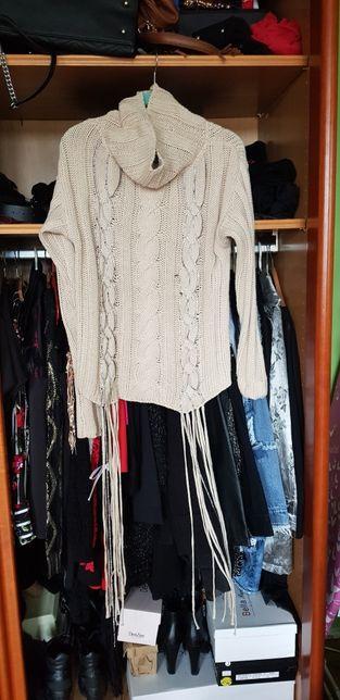 Sweter beż z frędzlami hit odzież włoska unikat