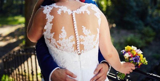 Biała suknia ślubna na guziki, koronka, brokat