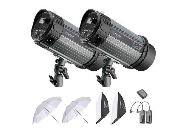 Kit iluminação 2 N-300W flashes strobe 600W com disparador RT-16