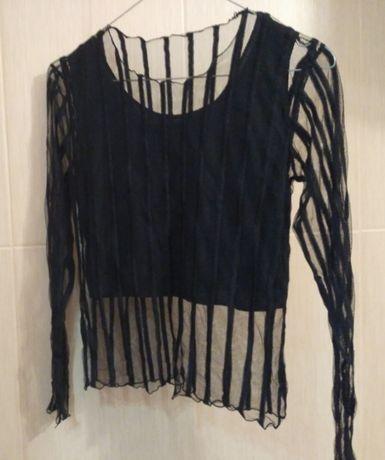 Нарядная чёрная прозрачная блузка