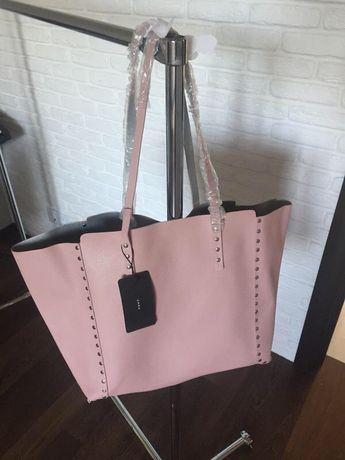 Моднявая вместительная двухсторонняя сумка шоппер,zara