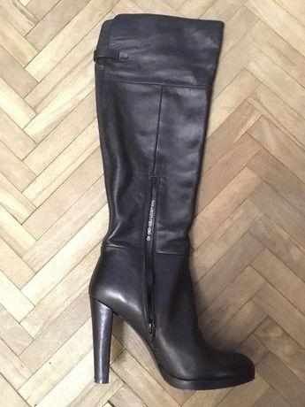 Женские черные кожаные высокие сапоги Braska