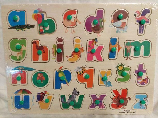 Puzzle drewniane Alfabet kolorowe literki