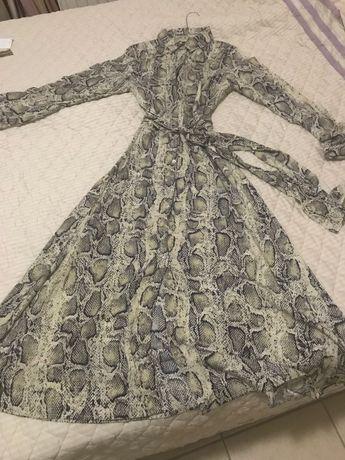 Роскошное длинное платье Змеиный принт
