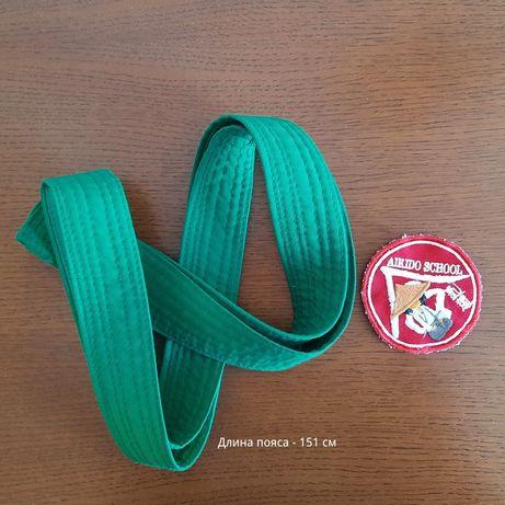 Пояс айкидо зеленый детский + нашивка