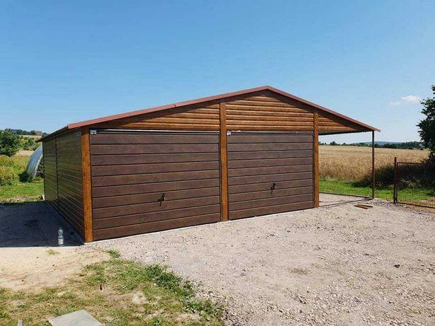 Garaż blaszany 6x6 +3m zadaszenia złoty dąb Blaszak Magazyny Hale Raty