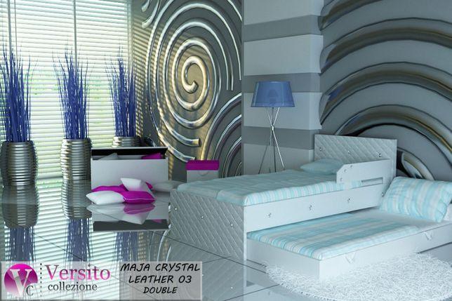 Bezpieczne łóżko piętrowe - wysuwane, ekoskóra, KRYSZTAŁKI. Transport