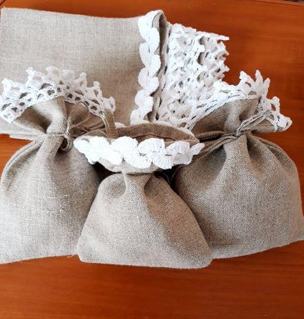 Текстильні лляні еко мішочки для саше трав насіння